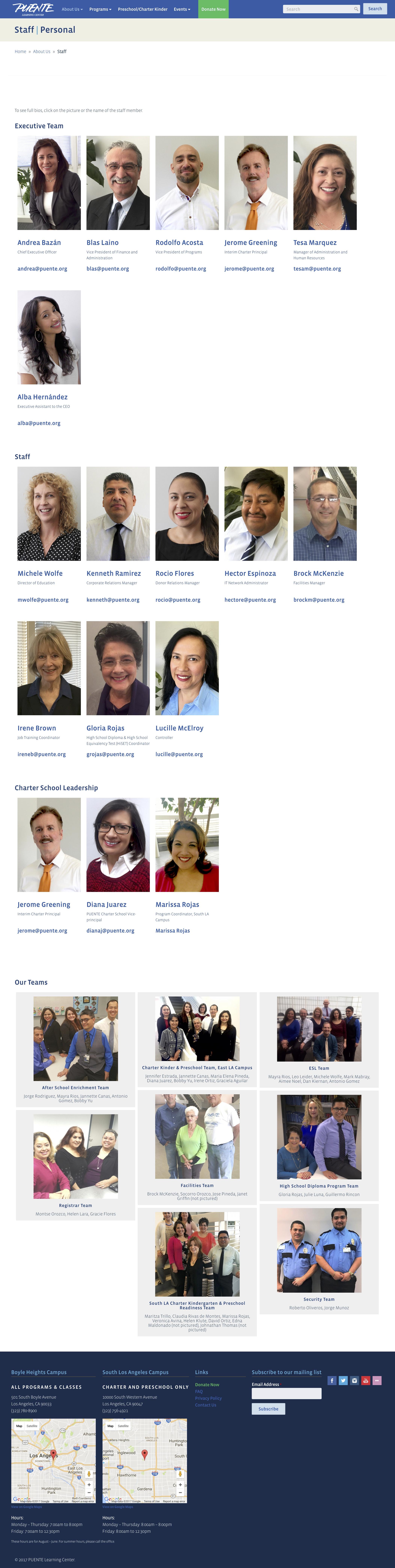 PUENTE Staff Page