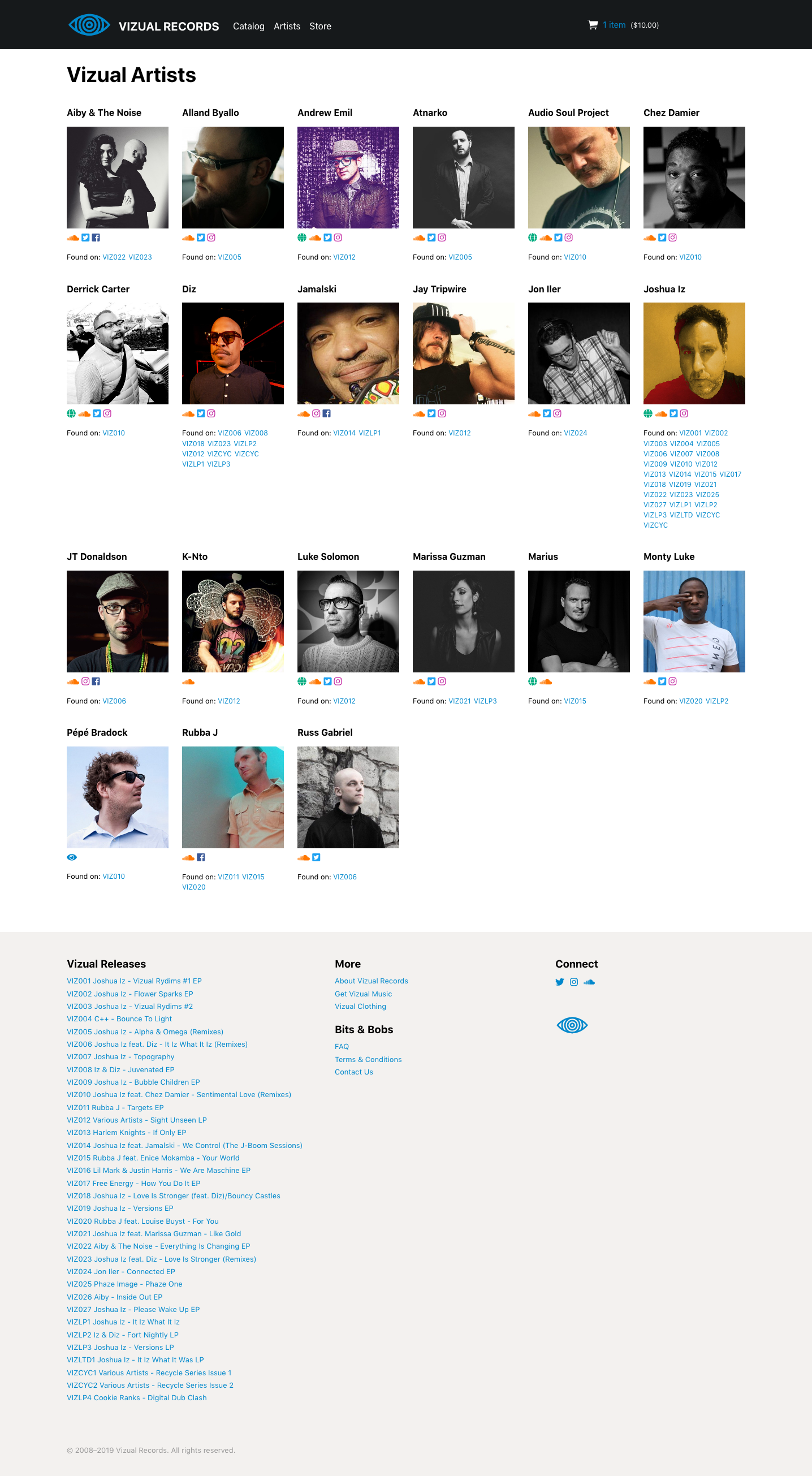 Artists page on vizualrecords.com