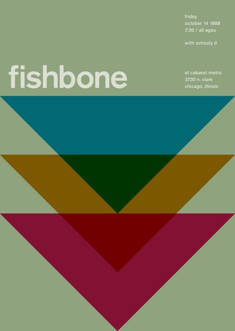 Fishbone poster using Akzidenz Grotesk designed by Mike Joyce