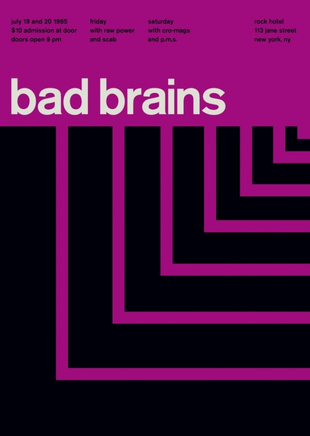 Bad Brains poster using Akzidenz Grotesk designed by Mike Joyce