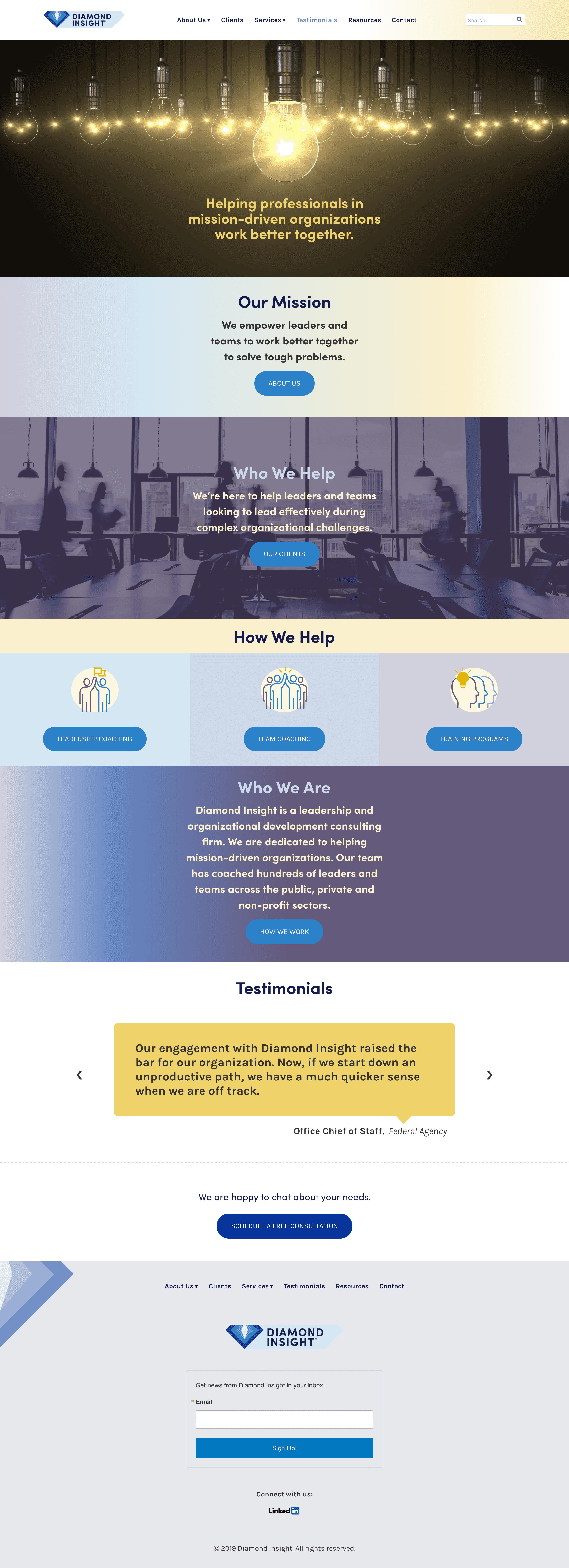 Diamond Insight home page screenshot